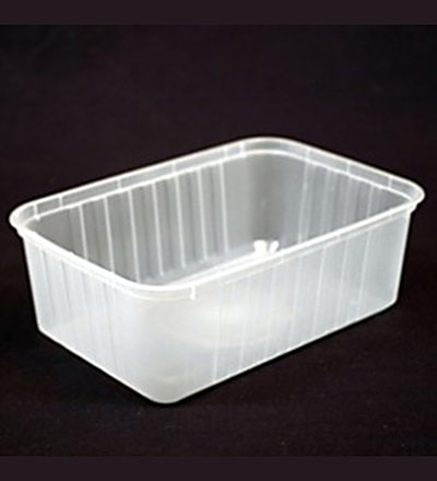 1000ml Rectangle Ribbed Clear Container - Pkt 50