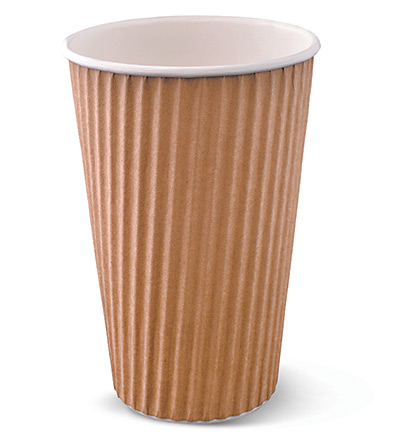 16oz Ripple Cup Brown Ctn 500