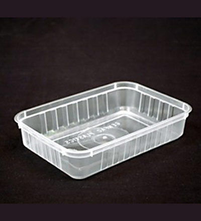 500ml Rectangle Ribbed Clear Container - Pkt 50