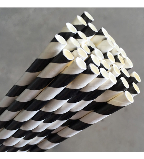 Regular Paper Straw -Black/White Pkt 250