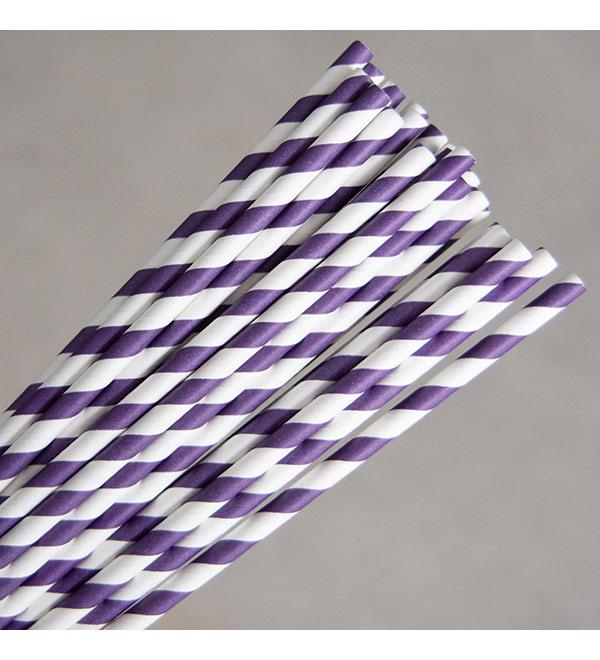 Regular Paper Straw -Grape/White Pkt 250