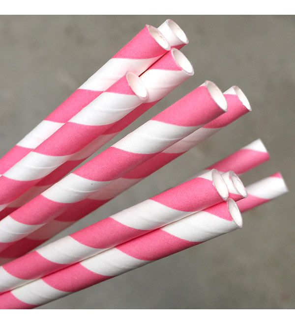 Regular Paper Straw -Pink/White Pkt 250