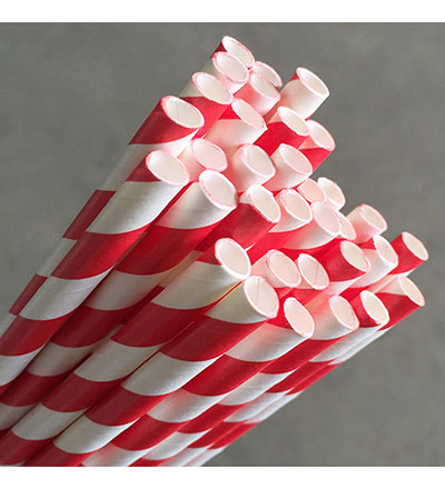 Regular Paper Straw - Red Pkt/Wh 250