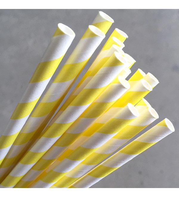 Regular Paper Straw - Yellow Pkt 250