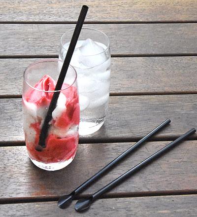 Plastic Spoon Straw 6mm Black - Box 2500